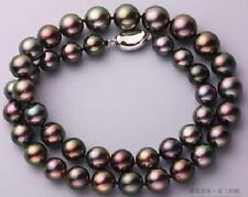 """18""""10-11mm natural tahitian black peacock round pearl necklace"""