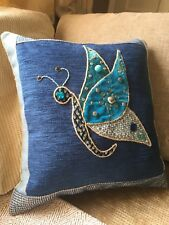 Butterfly Cushion, Blues, Home Made, Uniqu