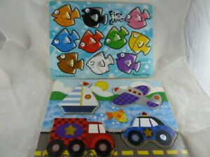 """Wooden Puzzles Melissa & Doug Lot of 2 for toddlers 9"""" X 12"""" size board EASY"""