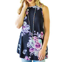 Sleeveless Tops For Women Summer T-Shirt Tunic Tanks Top Floral Print Blouses