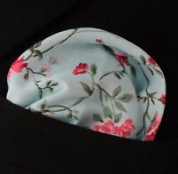 Hankie Pocket Square Cotton Handkerchief Blue with Bright Large Floral CH282