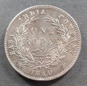 India - Victoria, Silver 1 Rupee, 1840, toned