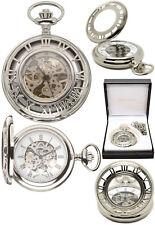 Mount Royal Half Hunter Art Deco Skeleton Pocket Watch Chrome Free Engraving B37