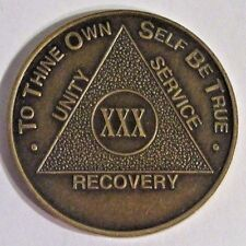 Alcoholics Anonymous 30 Year Aa Bronze Medallion Coin Token Chip Sobriety Sober