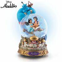 Disney Aladdin Musical Bradford Exchange Glitter Globe Jasmine Genie NEW Abu