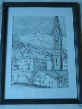 Ansicht von St. Moritz (Reformierte Kirche) Gerahmte Zeichnung von 1991