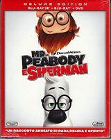 Blu-ray 3D + Blu-ray 2D + Dvd «MR. PEABODY E SHERMAN» nuovo slipcase 2014