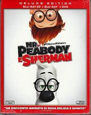 Blu-ray 3D + Blu-ray 2D + Dvd «MR. PEABODY E SHERMAN» nuovo slipcase 2014