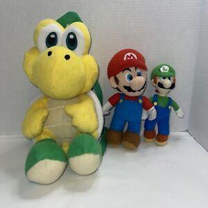 Lot 3 Super Mario Bros Mario, Koopa Turtle , Luigi Stuffed Plush Doll Animal Toy