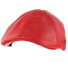 Men's Winter Fall Faux Leather Duckbill Ivy Driver Cabbie Cap Hat Red S/M 56cm