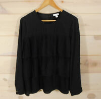 J Jill Women's Size L Layered Pleated Top Blouse Solid Black Career Wear Flowy