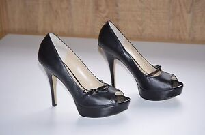 Enzo Angiolini Black Leather Stiletto Open Toe Pumps size-10M High 3in. & Up