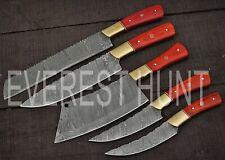 EVEREST 5PCS CUSTOM HANDMADE DAMASCUS STEEL KITCHEN CHEF KNIFE SET WOOD B8-1424
