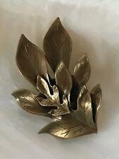 Curled Layered Oak Leaves Pin Estate Large Lightweight Antique Goldtone Etched