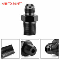 1PC AN6 TO 3/8NPT ORB-6 Straight Fuel Oil Air Hose Fitting Male Adapter Black GB