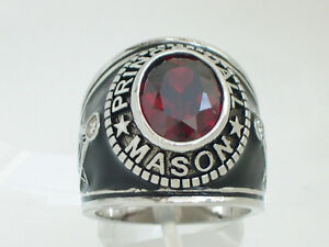 Prince Hall Mason Masonic January Red Garnet CZ Stone Rhodium Men Ring Size 10