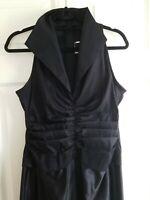 Tadashi Shoji full Gown Dress Black Silk Sz 10   v neck collar sleeveless