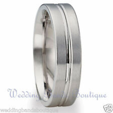 10K WHITE GOLD MENS WEDDING BAND MANS MEN'S FLAT COMFORT FIT SATIN RING  6mm