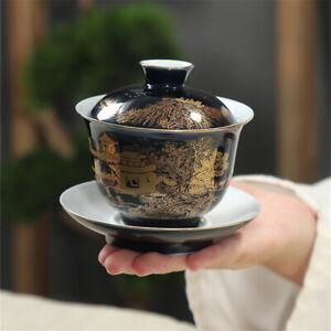 Covered Bowl Tea Black tea gaiwan lidded-cup gaiwan & tea cup Luxury hand made