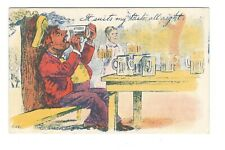 Man Drinking Beer Suits My Taste All Night Comic Humor Vintage Postcard A115