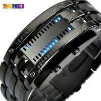 SKMEI mode montre de Sport créative hommes en acier inoxydable bracelet LED