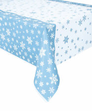 Blue & White Frozen Snowflakes Tablecover Winter Snowflakes Christmas Tablecloth