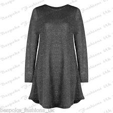 Ladies Women's Long Sleeve Lurex Glitter Party Xmas Mini Swing Dress Plus 8-30