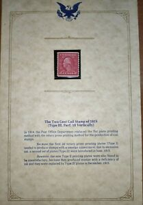 US STAMP - Two cent coil stamp 1915. Type 3 with certificate
