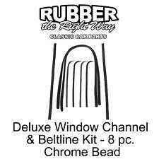 1967 1968 1969 1970 Ford Truck Deluxe Window Run Channel & Beltline Kit Chrome