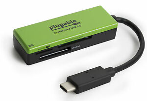 Plugable USB C SD Card Reader - Enable USB-C Laptop to Read SD, MMC or MS Cards
