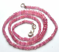 """70.40 CT 17 """" NATURAL PINK SAPPHIRE FACETED RONDELLE NECKLACE BEADS 2.5- 5.5 MM"""