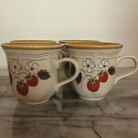"Mikasa Strawberry Festival Mug Coffee Cups 8 Oz Japan 3 1/2"" Tall, Lot of 4"