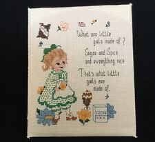 What Are Little Girls Made Of Vintage Completed Cross Stitch Girl Nursery Decor
