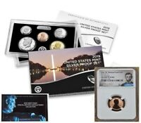 "2019 SILVER PROOF SET & ""W"" MINT REVERSE PF CENT, NGC REV PF69RD, FIRST RELEASES"