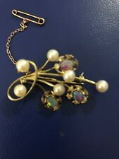 Pearl And Opal Brooch In Gold Setting With Safety Clasp