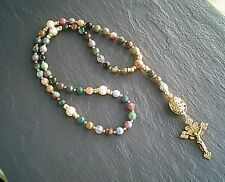 More details for 5 decade rosary necklace faceted agate gemstones christian jewelry uk