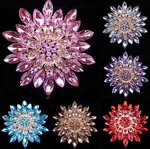 Large Flower Rhinestone Crystal Diamante Gold Brooch Party Wedding Bridal Pins
