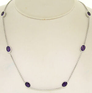 """14k White Gold 8ctw 8 Station Amethyst by the Yard 20"""" Cable Link Chain Necklace"""