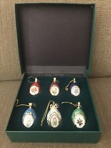 Franklin Mint House of Faberge  Christmas Egg Ornament Collection Of 6 In Box!