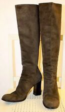 YVES SAINT LAURENT Vtg Brown Suede Leather Back Zip Knee High Boots 8.5 M Italy