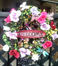 Handmade Spring Summer Boxwood WELCOME Wreath Pink Purple Rose Butterfly Decor