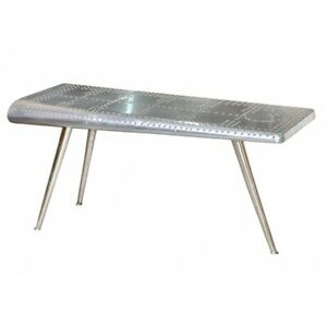 """56"""" L Avaitor Wing Console Table Industrial Aluminum Metal Rivet Detail"""