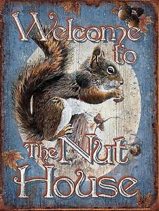 WELCOME TO THE NUT HOUSE  Retro Metal Plaque/Sign, Pub, Bar, Man Cave,