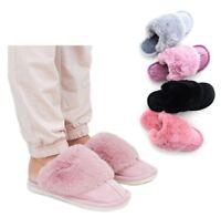 Ladies Luxury Faux Fur Sheepskin Winter Slippers Mules Non Slip Hard Sole Size