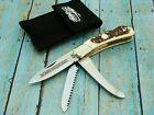 FOX N HOUND ITALY ITALIAN STAG LOCKBACK HUNTER POCKET KNIFE SAW VINTAGE KNIVES