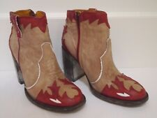 OLD GRINGO Mexicana beige red leather heeled cowboy booties ankle boots 39 8.5