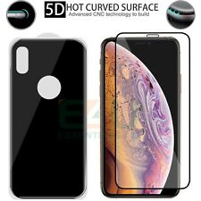 For Apple iPhone XS MAX Front + Back Tempered Glass Screen Protector 5D Black
