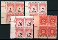 USAstamps Unused VF US Postage Due Plate Blocks Scott J81, J89, 96, 97, OG MNH