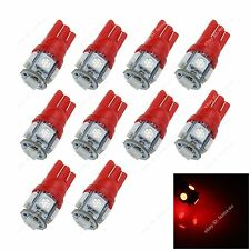 10x Red T10 194 W5W 5 SMD 5050 LED Car Wedge Side Lights Clearance Lamp Bulb