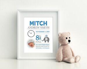 Baby Wall Art, Birth Detail Print, Baby Announcement, Nursery - Elephant Boy